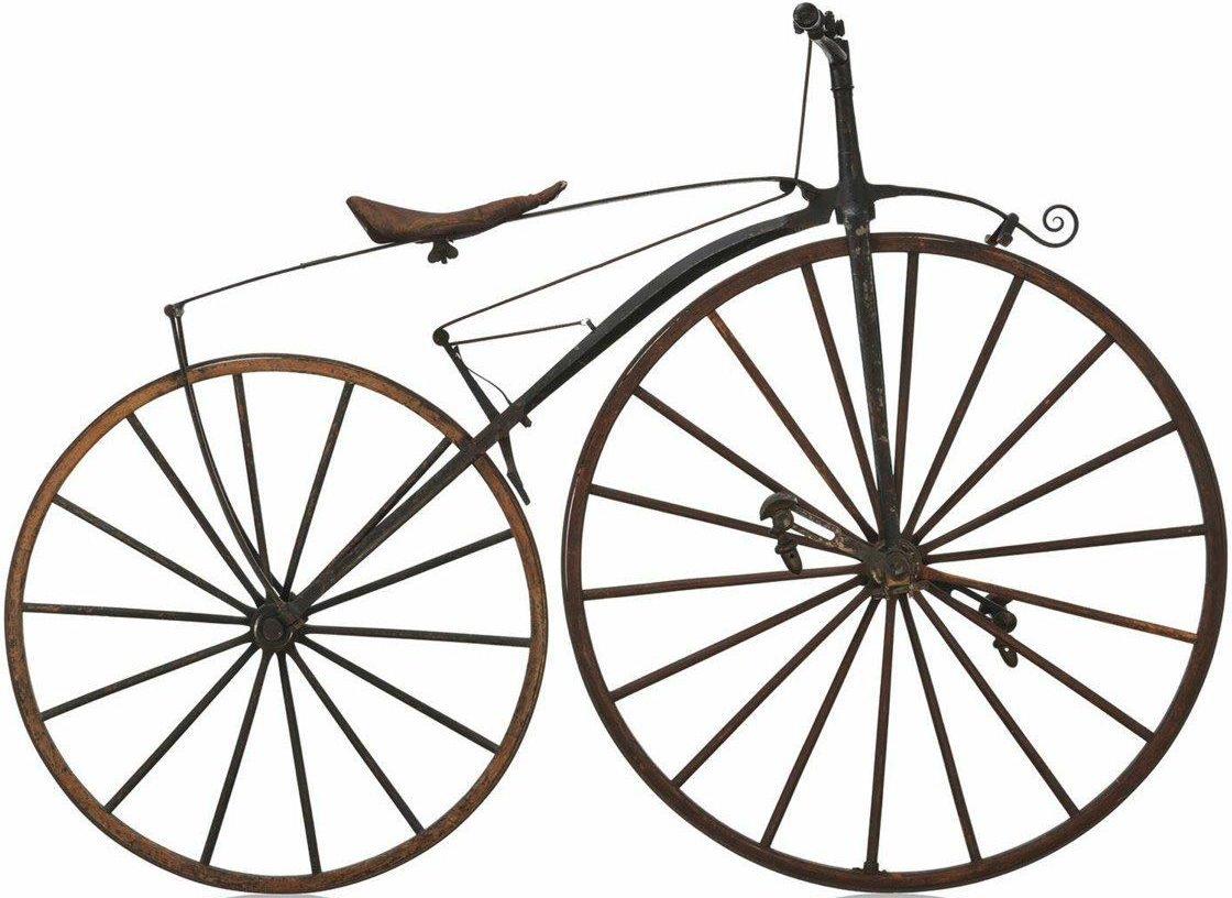 Tretkurbelrad Vélocipède Michaux, 1868: Mit geschmiedetem Rahmen und hölzernen Rädern wog dieses Gefährt 26 Kilogramm. (Bild: Technoseum)